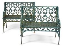 A PAIR OF CAST-IRON GARDEN BENCHES AFTER A DESIGN BY THE VAL D'OSNE FOUNDRY, LATE 19TH CENTURY  