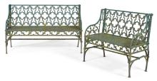 TWO CAST-IRON GARDEN BENCHES AFTER A DESIGN BY THE VAL D'OSNE FOUNDRY, LATE 19TH CENTURY  