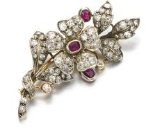 RUBY AND DIAMOND BROOCH, FIRST HALF OF THE 20TH CENTURY