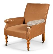 A VICTORIAN UPHOLSTERED AND TURNED SATIN BIRCH ARMCHAIR, MID-19TH CENTURY, POSSIBLY BY JAMES MEIN |