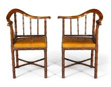 A PAIR OF SCOTTISH LATE GEORGE III MAHOGANY FAUX-BAMBOO CORNER ARMCHAIRS , POSSIBLY BY YOUNG AND TROTTER, LATE 18TH/EARLY 19TH CENTURY |