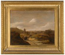 SCHOOL OF HAARLEM, 17TH CENTURY | Coastal dune landscape with figures approaching a village
