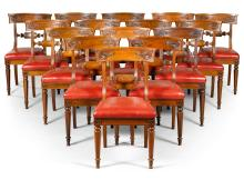 A SET OF FIFTEEN SCOTTISH WILLIAM IV CARVED MAHOGANY CHAIRS, SECOND QUARTER 19TH CENTURY |