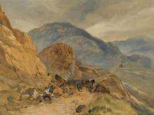 SIR EDWIN HENRY LANDSEER, R.A. | A highland landscape with a stone breaker in the foreground, possibly at the Pass of Glen Coe