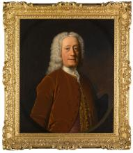 ALLAN RAMSAY   Portrait of a gentleman, possibly Colonel Sir John Walkinshaw of Barrowfield (1676-1780), half-length, wearing a russet coloured coat over a pink waistcoat with an embroidered trim