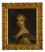 FOLLOWER OF SIR ANTHONY VAN DYCK   Portrait of Lady Jean Keith (b. <em>circa</em> 1610), half-length, wearing a brown dress and pearls