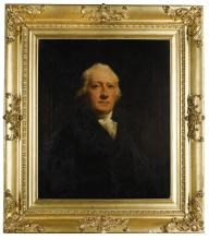 SIR HENRY RAEBURN, R.A. | Portrait of Sir John Belsches Wishart, later Stuart, 3rd Bt. (1752-1821), half-length, wearing a black coat with a white stock