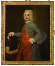 JOHN ALEXANDER   Portrait of John Belsches of Invermay, three-quarter-length, standing in an interior, wearing a grey coat over a richly embroidered red waistcoat, resting his right hand on a book