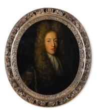 ENGLISH SCHOOL, 1694   Portrait of a gentleman, half-length, in dark robes with a white lace cravat