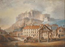 JEAN-CLAUDE NATTES | View of Edinburgh Castle from the Grass Market; together with a view of the Huntingtower Castle, Perthshire