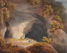FRANCIS NICHOLSON, O.W.S. | Figures outside a cave near Abergeley, North Wales