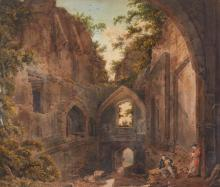 FRANZ JOSEPH MANSKIRCH | Rustic figures and sheep in a ruined manor house