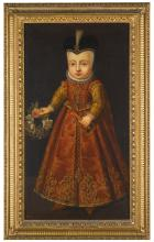 DUTCH SCHOOL, 17TH CENTURY | Portrait of a child, full length, holding a coral teething rattle, a garland of flowers and a pomader