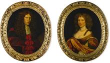 ATTRIBUTED TO DAVID SCOUGAL   Portrait of Sir Thomas Murray, Lord Glendoick (<em>circa</em>1633–1684/5), half-length, wearing Judicial robes; Portrait of Barbara Hepburn, Lady Glendoick (b.<em>circa</em> 1638), half-length, wearing a red and white dress, and pearls