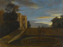ITALIAN SCHOOL, 17TH CENTURY | A view of a large palace and its elegant formal gardens with two figures walking, a castle atop a cliff beyond