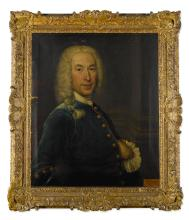 JOHN ALEXANDER | Portrait of John Belsches of Invermay (1710-53), half-length, wearing blue, with his left hand inside his coat