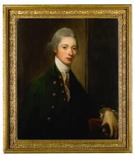 DAVID MARTIN   Portrait of Alexander, 9th Earl of Leven and 6th Earl of Melville (1749-1820), half length, wearing a green coat and waistcoat, white stock and holding his hat in his left hand