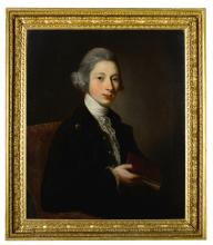 STUDIO OF DAVID MARTIN   Portrait of Alexander, 9th Earl of Leven and 6th Earl of Melville (1749-1820),half-length, in a green coat and waistcoat holding a book in his right hand