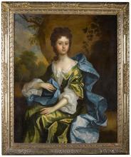 THOMAS MURRAY   Portrait of Rebecca Norton (<em>circa</em> 1683-1731), three-quarter-length, seated in a landscape, wearing a green dress and blue cloak
