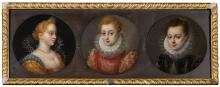 ITALO-FLEMISH SCHOOL, CIRCA 1600 | Three portraits of elegant ladies, half length, wearing embroidered dresses with elaborate lace ruffs
