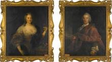 ATTRIBUTED TO ALESSANDRO LONGHI   Portrait of a gentleman, said to be Sir William Stuart, 2nd Bt. (d. 1777), three-quarter-length, wearing dark red with lace sleeves; and his wife, Lady Stuart (d. <em>circa</em>1779), three-quarter-length, wearing a blue dress and holding a red flower in her left hand