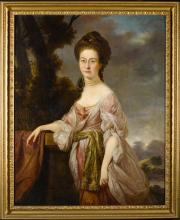 DAVID MARTIN   Portrait of a lady, three-quarter-length, standing in a landscape, wearing a pink dress with white lacesleeves and an embroidered waistband