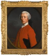 ALLAN RAMSAY   Portrait of Sir George Hay-Makdougall, 3rd Bt. (1705-77), half-length, wearing a red coat over an embroidered waistcoat