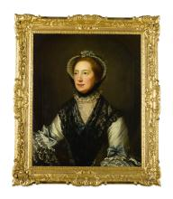 DAVID MARTIN   Portrait of a lady,half-length, wearing a white dress with blue ribbons and a black lace scarf