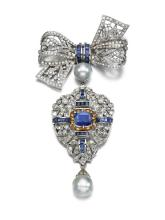 SAPPHIRE, CULTURED PEARL AND DIAMOND BROOCH/PENDANT