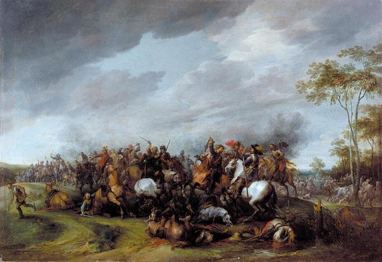 THE PROPERTY OF A GENTLEMAN PIETER SNAYERS ANTWERP BAPT 1592 - 1667 BRUSSELS A CAVALRY ENGAGEMENT