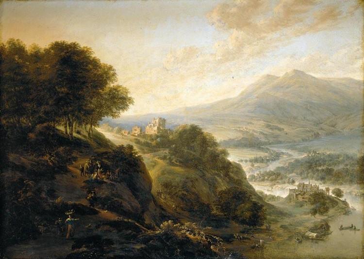 JAN GRIFFIER THE ELDER AMSTERDAM 1645 (?) - 1718 LONDON AN EXTENSIVE MOUNTAINOUS RIVER LANDSCAPE