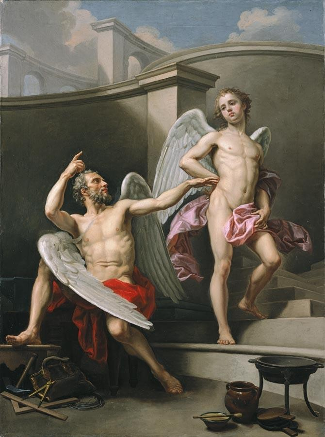 THE PROPERTY OF A GENTLEMAN LAURENT PÉCHEUX LYON 1729 - 1821 TURIN DAEDALUS AND ICARUS