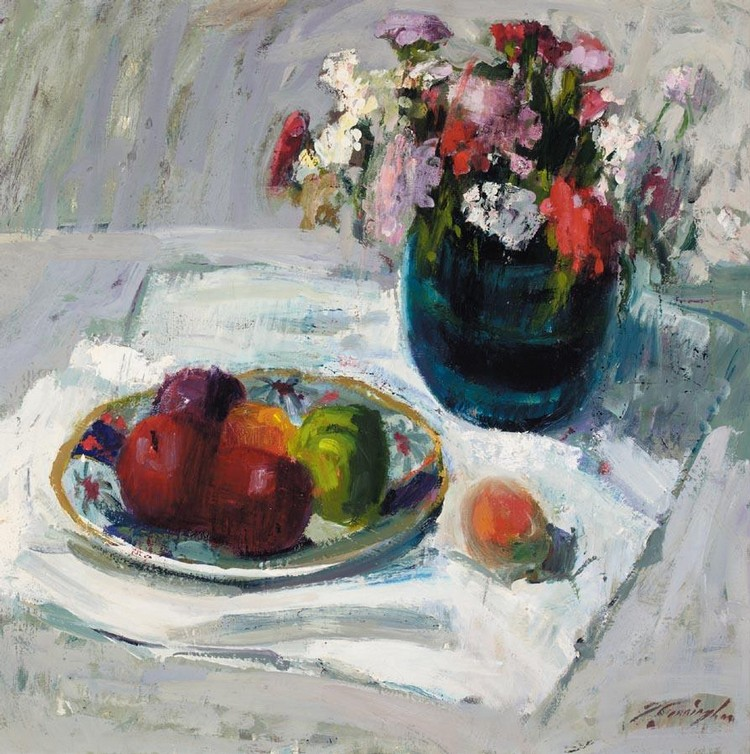 JOHN CUNNINGHAM 1927-2000 STILL LIFE WITH APPLES AND GERANIUMS
