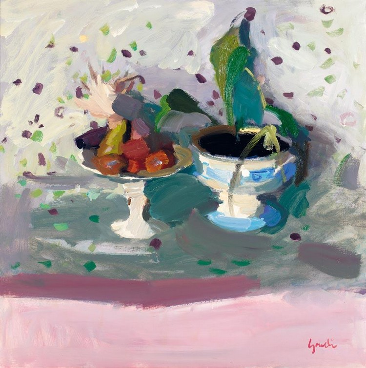 ALEXANDER GOUDIE 1933-2004 STILL LIFE WITH A JARDINIERE AND A FRUIT STAND