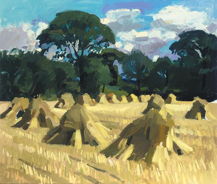 ALEXANDER GOUDIE 1933-2004 A LANDSCAPE OF CORN STOOKS IN BRITTANY