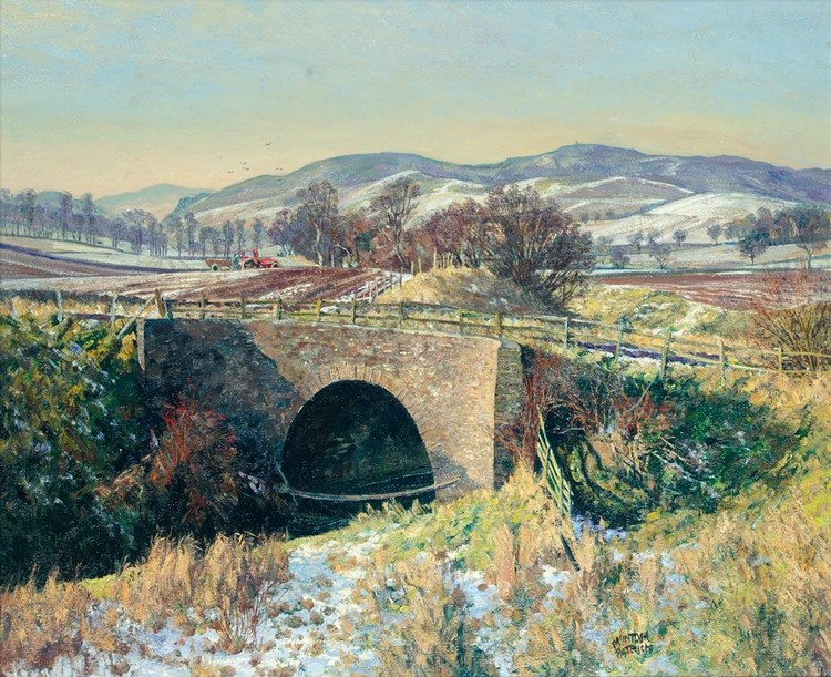 JAMES MCINTOSH PATRICK, R.S.A. 1907-1998 FROSTY AFTERNOON, DONLEY BRIDGE ANGUS
