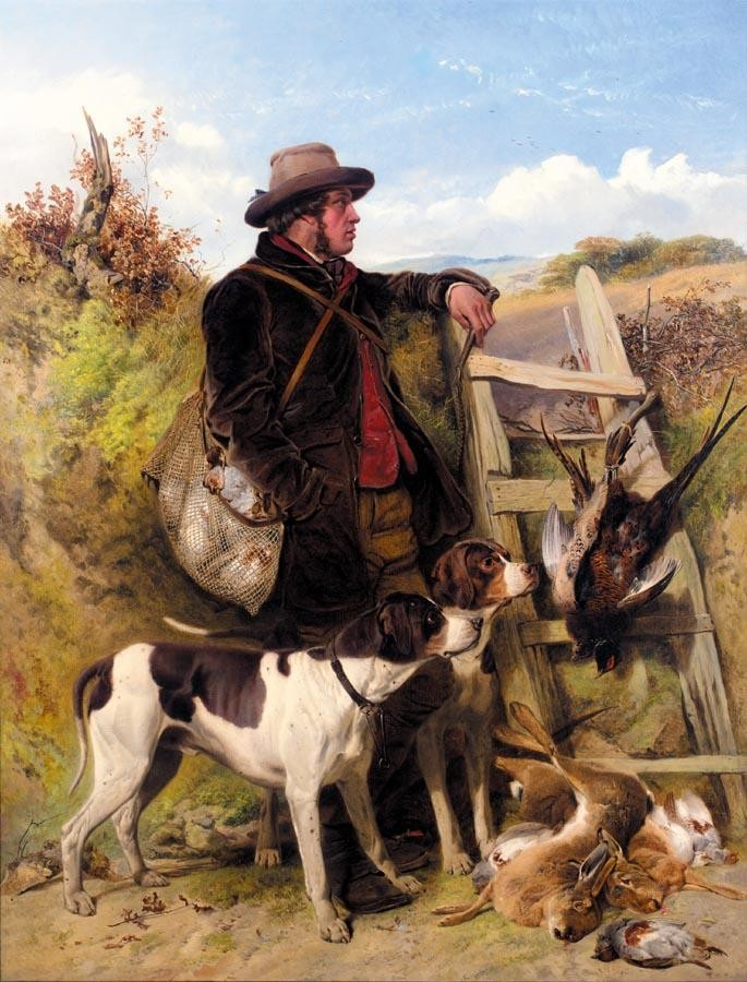 RICHARD ANSDELL R.A. 1815-1885 THE ENGLISH GAMEKEEPER