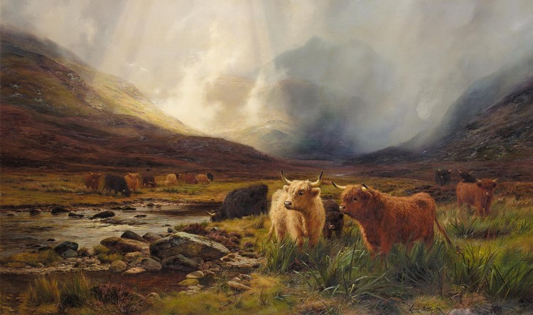 f - LOUIS BOSWORTH HURT 1856-1929 A GLEAM IN THE HIGHLANDS