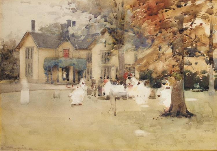 ARTHUR MELVILLE 1855-1904 SKETCH FOR THE LAWN TENNIS PARTY AT MARCUS