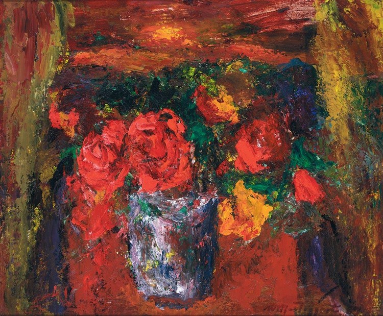 SIR WILLIAM MACTAGGART 1903-1981 THE VIEW, STILL LIFE OF ROSES