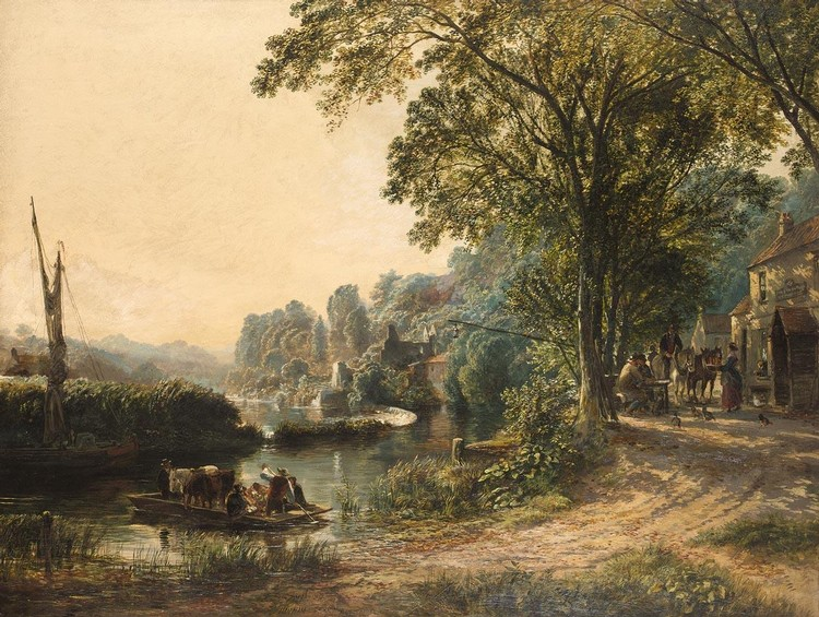SAMUEL BOUGH R.S.A. 1822-1878 THE INN AT HANHAM FERRY NEAR BRISTOL