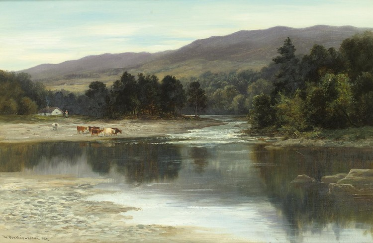 WILLIAM BEATTIE BROWN R.S.A. 1831-1909 ON THE RIVER TUMMEL, PERTHSHIRE