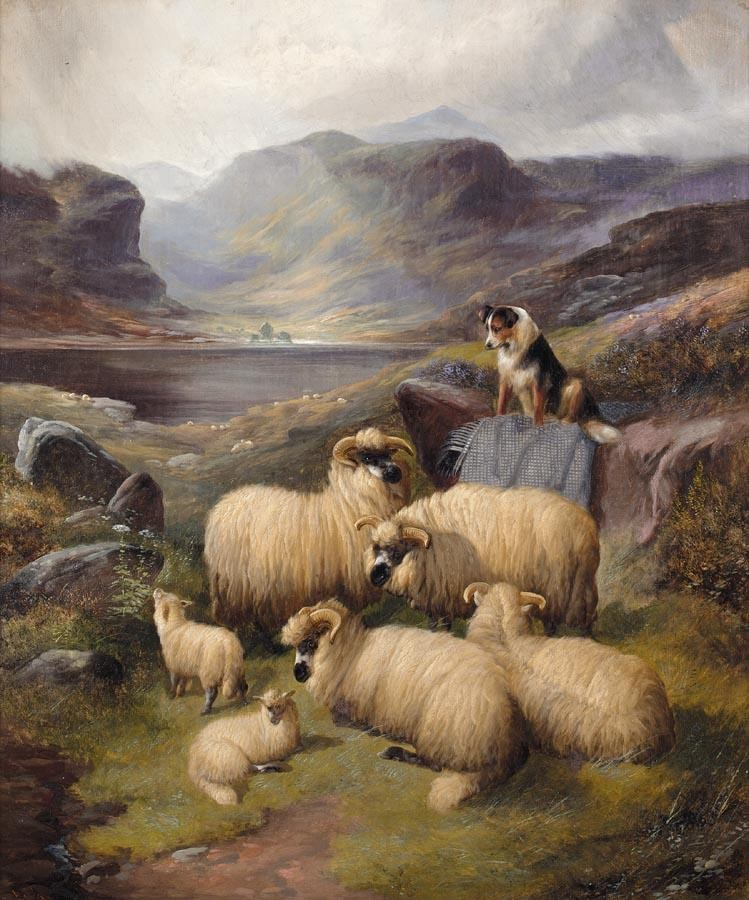 JOHN BARKER 1811-1886 GUARDING THE FLOCK