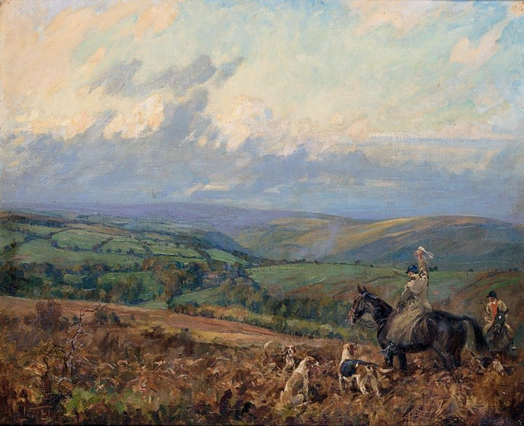 LIONEL DALHOUSIE ROBERTSON EDWARDS R.I., R.C.A. 1878-1966 THE SIGNAL TO THE PACK, DEVON AND