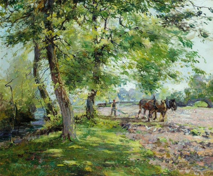 ARCHIBALD KAY, R.S.A., R.S.W. 1860-1935 PLOUGHING