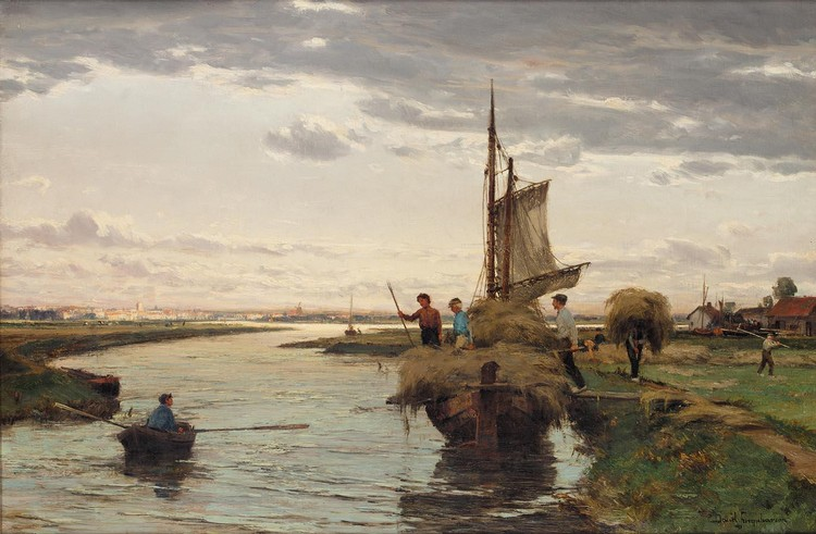 DAVID FARQUHARSON A.R.A., A.R.S.A., R.S.W. 1839-1907 LOADING THE HAY BARGE