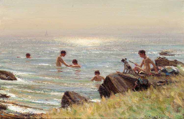 PATRICK DOWNIE 1854-1945 CHILDREN BATHING AT BALLANTRAE