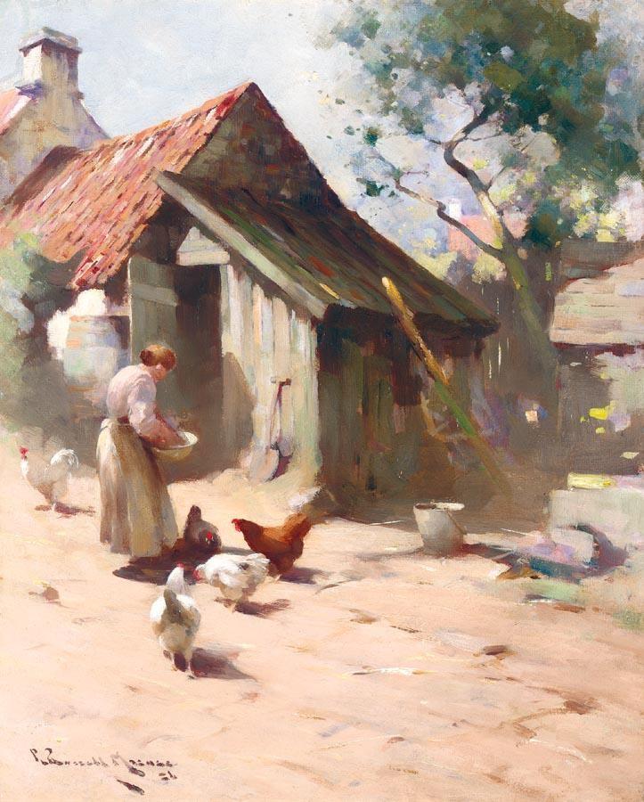 ROBERT RUSSELL MACNEE 1880-1952 FEEDING THE HENS