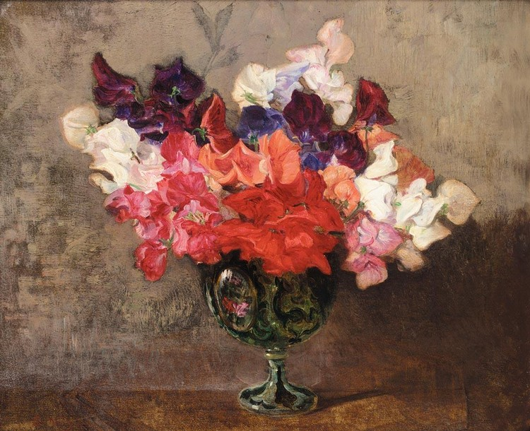 ROBERT NOBLE R.S.A. 1857-1917 STILL LIFE OF SWEET PEAS
