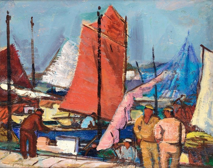 ANNE ESTELLE RICE 1875-1959 UNLOADING THE CATCH, BRITTANY